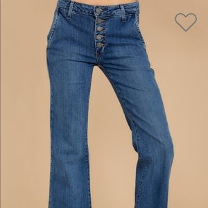 Just black denim flared hi rise jeans with buttons